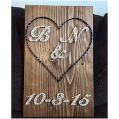 Wedding or anniversary date string art! Great for a wedding gift, engagement, anniversary, or just because youre in love  Choose either initials/ampersand (&) or initials as a monogram look. Size is 11 by 13. You choose wood stain (gray, white, aqua, dark brown, or light brown) and string colors! A sawtooth hanger is added to every board. Shipping prices vary, so I will refund the difference if its more than the listed amount. Thank you for checking out my listing! You can find ...