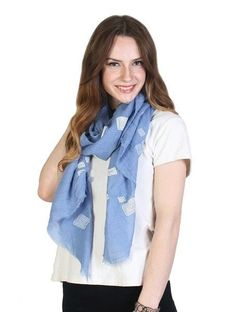 Sky Blue & White Breathable Cotton Blend Square Print Scarf Lightly Frayed Edges
