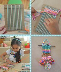 Du carton et du tissage de la laine avec des enfants - wow projet pour les enfants de 5-7yr avecbarrucci