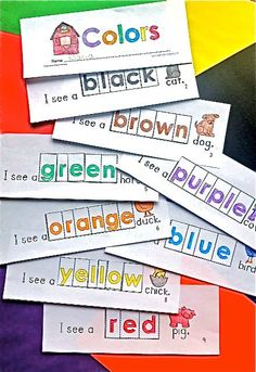Kinesthetic & Auditory Learning Fun With Color Words - Kinder Craze Kindergarten Colors, Preschool Colors, Teaching Colors, Kindergarten Literacy, Preschool Farm, Emergent Literacy, Emergent Readers, Beginning Of School, First Day Of School