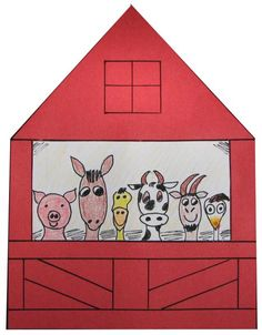 A Graphic Of Colored Red Barn With Animals In It The Finished Product This Craft