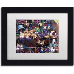 Trademark Fine Art 'While Kittens Are Away' Canvas Art by Jenny Newland, White Matte, Black Frame, Size: 11 x 14, Assorted