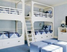 Double bunk bed plans Don Cunniff was looking for a twin over double bunk bed Which is based on a modification of these twin size bed plans Boys Bedrooms Double bunks usually Double Bunk Beds, Bunk Beds Built In, Modern Bunk Beds, Cool Bunk Beds, Kids Bunk Beds, Kids Room Bed, Kids Bedroom, Bed Room, Kids Rooms