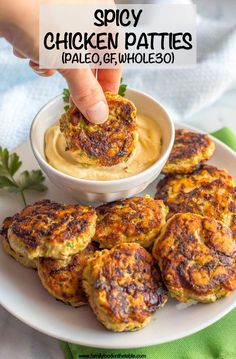 Spicy chicken patties are a really simple easy recipe and can be used for wraps salads sliders with a sauce or alongside some eggs with breakfast. Paleo gluten-free and whole these patties will become a new favorite! New Recipes, Whole Food Recipes, Cooking Recipes, Favorite Recipes, Recipes Dinner, Whole 30 Easy Recipes, Whole 30 Meals, Whole 30 Snacks, Whole 30 Lunch