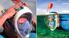 Snorkeling isn't the most difficult skill to master—especially compared to scuba diving—but only breathing through your mouth is a skill that doesn't come easy to everyone. The Easybreath mask promises to make first-timers seem like snorkeling pros with a Cool Technology, Technology Gadgets, Tech Gadgets, Cool Gadgets, Easybreath Snorkeling Mask, Real Ninja, Breathing Underwater, Snorkel Mask, Face Design