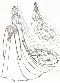 Sketches for Princess Anne's Tudor inspired wedding dress.