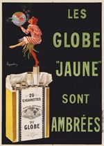 Les Globe Jaune Sont Ambrees poster by Cappiello - Beautiful Vintage Posters Reproduction. This poster features a woman standing on a pack of cigarettes with one foot in the air blowing smoke around a globe. Giclee Advertising Print. Classic Posters