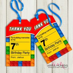 This collection includes printable PDF files at a massive discount for: · Personalized Cupcake Toppers Designs) · Cupcake Wraps Designs) · Personalized Favor Tags H x 2 W) · Personalized Water Bottle Wraps · Favor Bag Toppers (Will fit Ziploc Lego Themed Party, Lego Birthday Party, Party Themes, 5th Birthday, Party Ideas, Birthday Parties, Monkey Invitations, Lego Party Invitations, Lego Party Favors