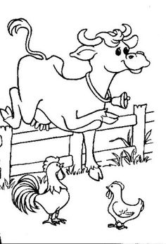 cow and chicken coloring pages - photo#27