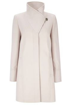 Stone Minimal Funnel Neck Coat. debating with myself about the need to show a waist.