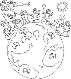 Colouring Pages, Coloring Pages For Kids, Coloring Books, April Preschool, Preschool Crafts, Children's Day Activities, Harmony Day, Mandala, World Crafts