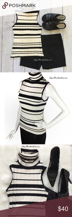 WHBM striped sleeveless stretch silk turtleneck Gorgeous fitted ribbed silk /spandex sleeveless turtleneck in ivory and black stripes. Size tag removed but fits size medium. Please read my updated bio regarding closet policies prior to any inquiries. White House Black Market Tops