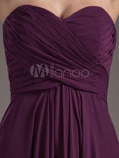 Elegant Grape Chiffon Sweetheart Sexy Evening Dress - m.milanoo.com