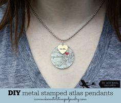 DIY Atlas Pendants from icanmake: Metal Stamped Jewelry #DIYJewelry #MetalStamping