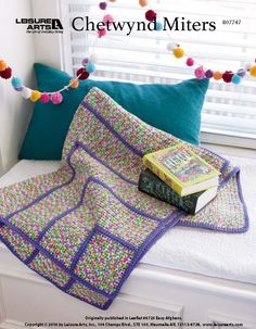 """Chetwynd Miters - Designed by Sharon H. Silverman, this easy afghan can be an exciting project.Chetwynd Miters was originally published in Leaflet # 6725 - Easy Afghans. Finished Size: 42"""" (106.5cm) square."""