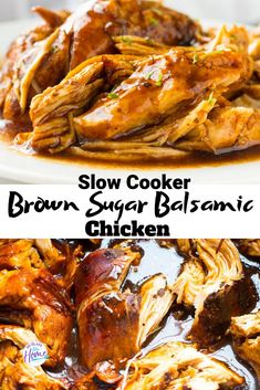 Slow Cooker Brown Sugar Balsamic Chicken A tender and flavorful chicken recipe with just the right amount of sweetness. Slow Cooker Brown Sugar Balsamic Chicken is ready in 4 hours on high or 6 on low. Healthy Meals For One, Healthy Crockpot Recipes, Beef Recipes, Cooking Recipes, Crockpot Meals, Good Crock Pot Recipes, Easy Family Dinner Recipes, Easy Crock Pot Meals, Family Dinner Ideas