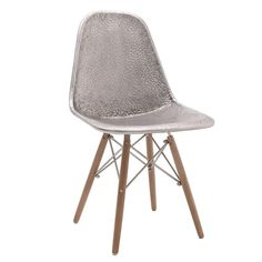 METAL/WOODEN CHAIR IN SILVER COLOR 46X54X83 - Chairs - FURNITURE