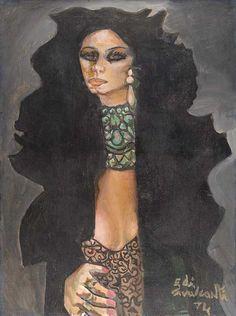 Marina Montini(1974) - Oil on Canvas - Di Cavalcanti.
