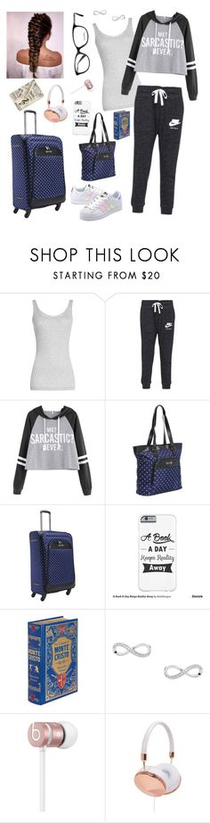 """Airplanes, alone time"" by jollyme ❤ liked on Polyvore featuring Vince, NIKE, adidas Originals, Kenneth Cole Reaction, Beats by Dr. Dre and Frends"