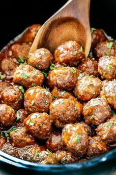 Slow Cooker Honey Buffalo Meatballs - Simmered in the most tantalizing sweet heat sauce that everyone goes crazy for! Perfect appetizer or delicious, easy meal!