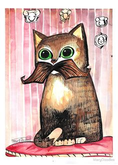 Mr. Whiskers: Moustache Cat by MaryDoodles