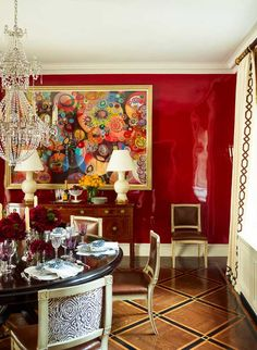 Red Lacquer Dining Room Wall