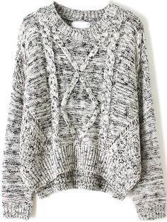Grey Long Sleeve Cable Knit Dipped Hem Sweater 0.00