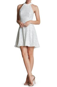 Dress the Population 'Anni' Sequin Minidress in White/Silver at Nordstrom $198