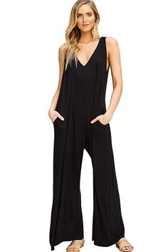 374d47a5e4835 Annabelle Women's Knit Plus Size Jumpsuit Featuring Solid Full Length V  Neck Sleeveless Wide Straight Leg Loose Fit with Hoodie and Pockets Black  X-Large ...