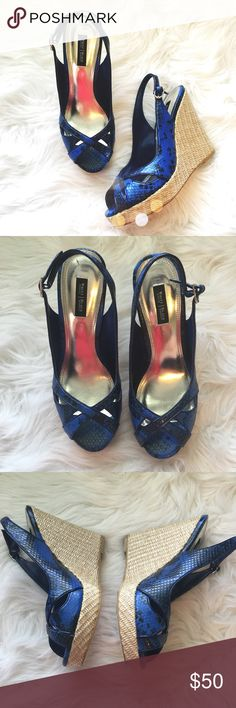 WHBM Blue Snake Wedges So cute and perfect dressed up or down! Excellent condition, like new! No trades!! 0861630cmr White House Black Market Shoes Wedges