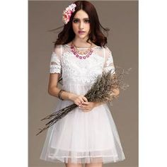 Bridal party dress Gridding Lace Embroidery High-waist White Dress   pariscoming