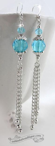 Blue Cyan Crystal tassel Earrings