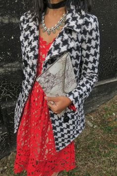 12 Days of Blogmas: Red Lace Dress // lace overlay dress, houndstooth coat, midwest fashion blogger, rebecca minkoff clutch