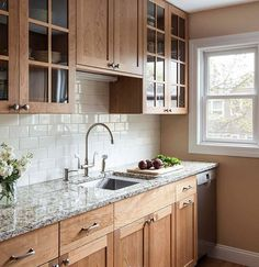 Natural Cherry Kitchen - Farmhouse - Kitchen - Other - by Woodland Cabinetry Hickory Kitchen Cabinets, Stained Kitchen Cabinets, Kitchen Cabinets And Countertops, Pine Kitchen, Kitchen Cabinet Design, Kitchen Redo, Home Decor Kitchen, Kitchen Interior, Home Kitchens
