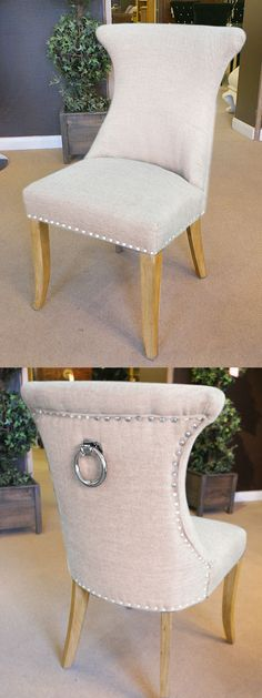 chairs with ring backs | Cream Ring Pull Studded Dining Chair