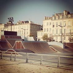 Skate park in Bordeaux, France. Backyard Skatepark, Skate Park, Wakeboarding, Surfing, Bordeaux France, Exterior, Urban, Amusement Parks, Vacation