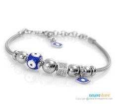 Shop Original Pandora Style Bracelet with Lucky Eye Charms at Evil Eye Store Evil Eye Jewelry, Evil Eye Bracelet, Evil Eye Charm, Bracelet Making, Charms, Pandora, Sterling Silver, Eyes, Stone