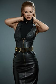 Belted leather dress fashion