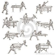 Table Tennis - Feehand Sketching, Collection Stock Illustration - Illustration of retro, competition: 63359102 Tennis Drawing, Anime Base, Play Table, How To Draw Hands, Projects To Try, Sketches, 2d Design, Activities, Art Designs