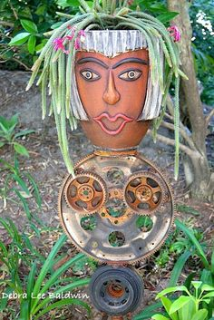 Another Pot Head! a succulent garden container Face Planters, Flower Planters, Cactus Flower, Garden Planters, Succulents Garden, Flower Pots, Flowers, Garden Statues, Garden Sculpture