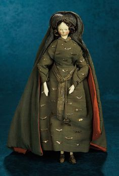 Grodnertal Wooden Doll in Original Costume Representing 11th Century Fashion 1500/2500