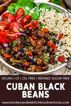 Cuban Black Beans – Monkey and Me Kitchen Adventures Quick, easy, and creamy, this comforting Cuban Black Beans is brimming with flavors and will wow your taste buds with the first delicious bite. Veggie Recipes, Whole Food Recipes, Cooking Recipes, Healthy Recipes, Vegan Soul Food Recipes, Plant Based Dinner Recipes, Plant Based Meals, Cheap Healthy Dinners, Low Fat Vegan Recipes