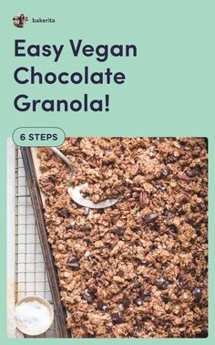 Who wouldn't love this vegan chocolate granola recipe? Click through to try out this easy recipe today! Get more paleo baking recipes here! Vegan Breakfast Recipes, Good Healthy Recipes, Delicious Vegan Recipes, Best Dessert Recipes, Fun Desserts, Chocolate Granola, Vegan Chocolate, Gluten Free Granola, Vegan Gluten Free