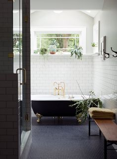 Bathroom inspiration // navy tile, black clawfoot tub and white subway tile clawfoot bathtub Laundry In Bathroom, Bathroom Renos, Bathroom Interior, Tiled Bathrooms, White Bathroom, Bathroom Goals, Bathroom Ideas, Classic Bathroom, Bathroom Remodeling