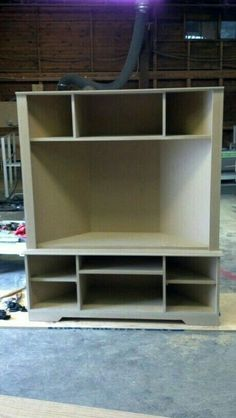 Corner entertainment center - maybe as bookshelves on side for games and movies Corner Entertainment Unit, Corner Tv Cabinets, Cupboards, Basement Remodeling, Home Projects, Bookshelves, Home Furniture, Shelving, Family Room