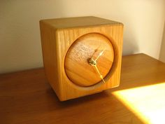 nice wood clock | Vintage Wood Block Clock, Butcher Block Clock, Cube Shaped, Square ...