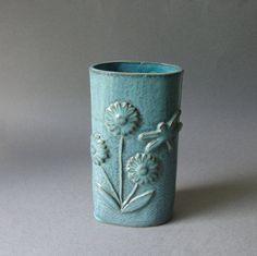 handbuilt pottery vase jade dragonfly & by KensGardenPottery, $30.00