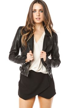 Night Rider Moto Jacket / ShopSosie #Black #Buttery #Faux #Leather #Moto #Jacket #ShopSosie