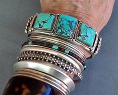 Heavy-Vintage-Native-American-Silver-Square-Turquoise-Row-Cuff-Unisex-Bracelet