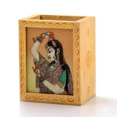 Little India Gemstone Painted Handcrafted Wooden Pen Stand Brown) Corporate Gifts, Jaipur, Handicraft, Arts And Crafts, House Design, India, Gemstones, House Styles, Frame
